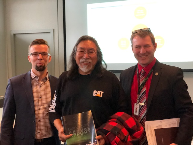 Henry Wall (Kenora District Services Board CAO), Frank McKay (WFNC Chief Executive Officer and Council Chair) and Sean Monteith, KPDSB Director of Education)