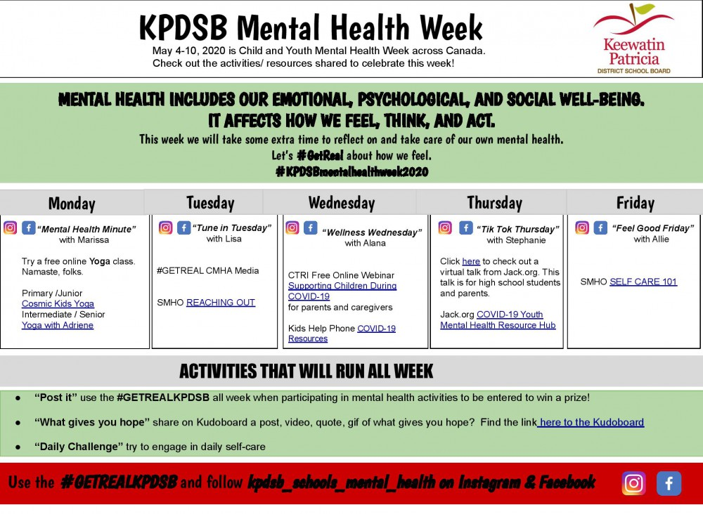 Children's Mental Health Week Events at a Glance Graphic