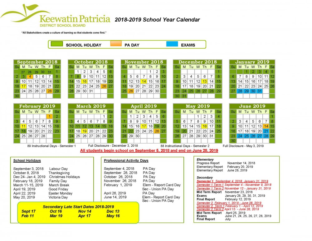 image of 2018 2019 school year calendar
