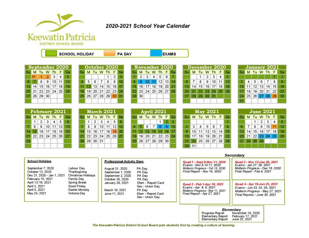 Northwestern Calendar 2022.School Year Calendar Keewatin Patricia District School Board