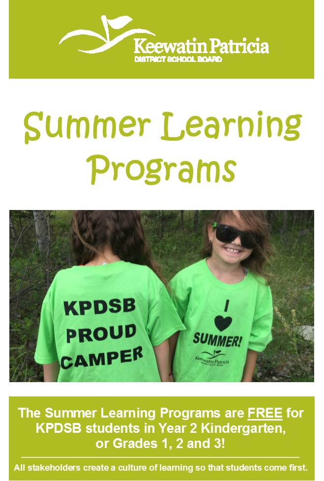 Front page of Summer Learning Camps Brochure