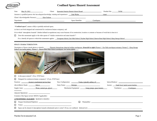 Confined space hazard assessment